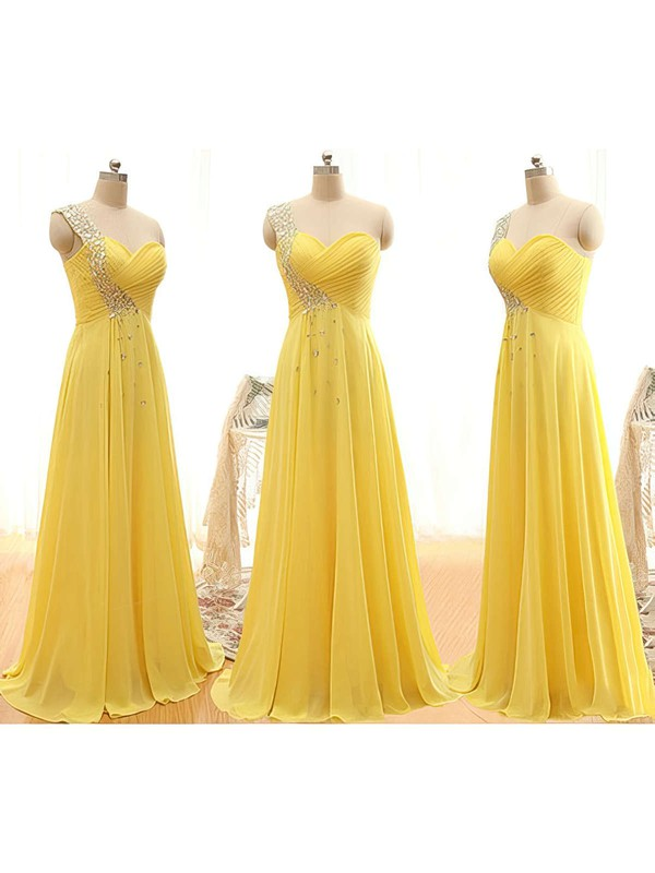 Yellow Chiffon with Beading One Shoulder Latest Bridesmaid Dresses #PWD01012406