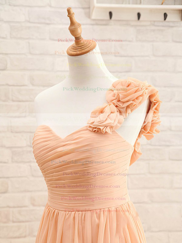 Floor-length Orange Chiffon Flower(s) Inexpensive One Shoulder Bridesmaid Dresses #PWD01012408
