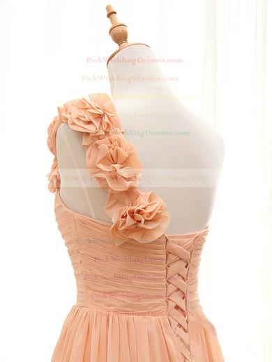 Floor-length Orange Chiffon Flower(s) Inexpensive One Shoulder Bridesmaid Dresses #PWD01012408