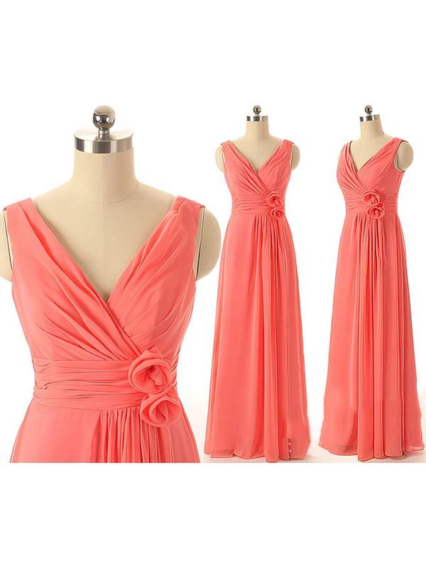 Watermelon Chiffon Ruffles Affordable V-neck Bridesmaid Dresses #PWD01012409