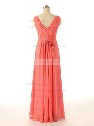 Watermelon Chiffon Ruffles Affordable V-neck Bridesmaid Dresses #PWD01012409