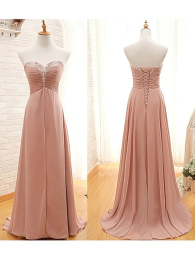 A-line Sweep Train Chiffon Beading Sweetheart Bridesmaid Dresses #PWD01012410