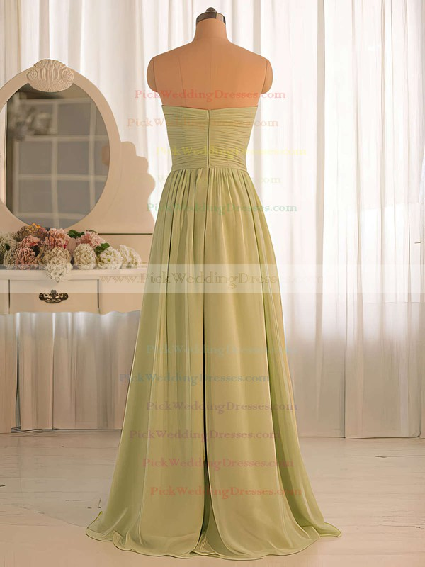 Simple Chiffon A-line Ruffles Sage Sweetheart Bridesmaid Dresses #PWD01012412