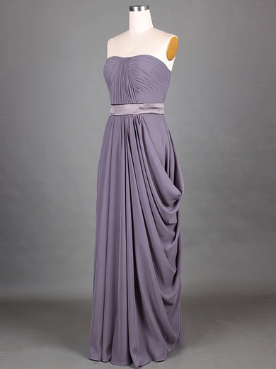 Grape Chiffon Sashes/Ribbons A-line Strapless Classic Bridesmaid Dresses #PWD01012417