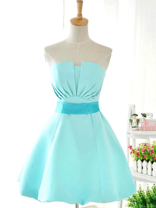 Cute Blue Satin Bow Strapless Ball Gown Short/Mini Bridesmaid Dresses #PWD01012419
