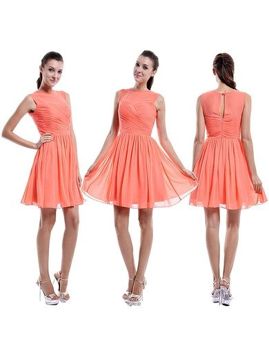Short/Mini Scoop Neck Ruffles Chiffon Popular Orange Bridesmaid Dress #PWD01012421