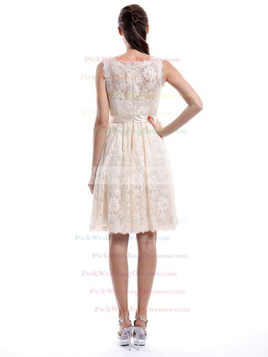 Discount Scoop Neck Ivory Sashes/Ribbons Knee-length Lace Bridesmaid Dress #PWD01012422