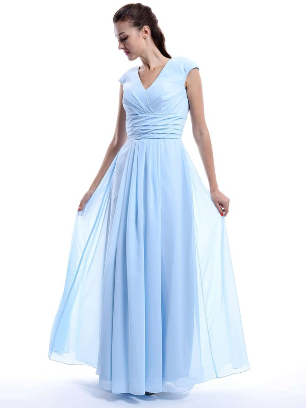 V-neck Chiffon Cap Straps A-line Ruffles Light Sky Blue Bridesmaid Dress #PWD01012423