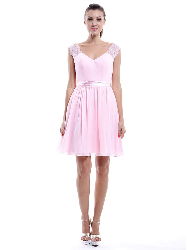 Discounted V-neck Straps Short/Mini Chiffon Lace Pearl Pink Bridesmaid Dress #PWD01012424