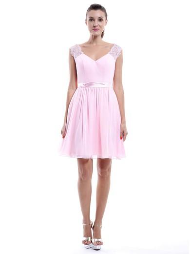 Discounted V-neck Straps Short/Mini Chiffon Lace Pearl Pink Bridesmaid Dress #PWD01012424