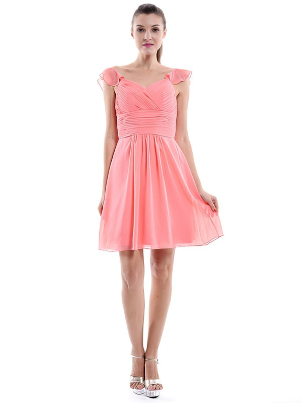 Sweetheart Watermelon Chiffon Nice Ruffles Short/Mini Bridesmaid Dress #PWD01012426
