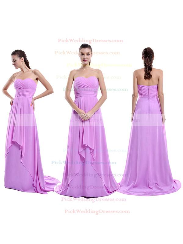 Nicest Sweetheart Chiffon Ruffles Sweep Train Lilac Bridesmaid Dress #PWD01012429