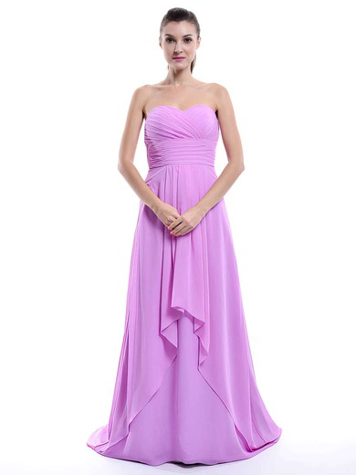 Nicest Sweetheart Chiffon Ruffles Sweep Train Lilac Bridesmaid Dress #PWD01012429