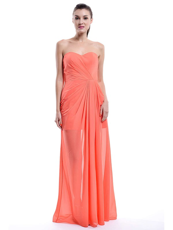 Ruffles Sweetheart Chiffon A-line Orange Newest Bridesmaid Dress #PWD01012430