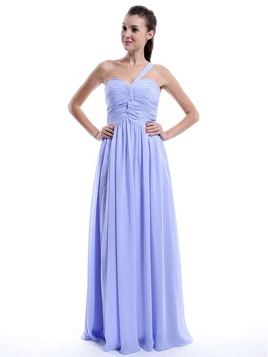 One Shoulder Lilac A-line Chiffon Ruffles Promotion Bridesmaid Dress #PWD01012431