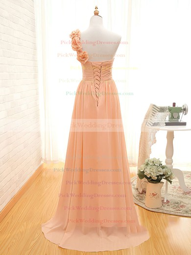 Wholesale Orange Chiffon Sweep Train Flower(s) with Lace-up One Shoulder Bridesmaid Dress #PWD01012434