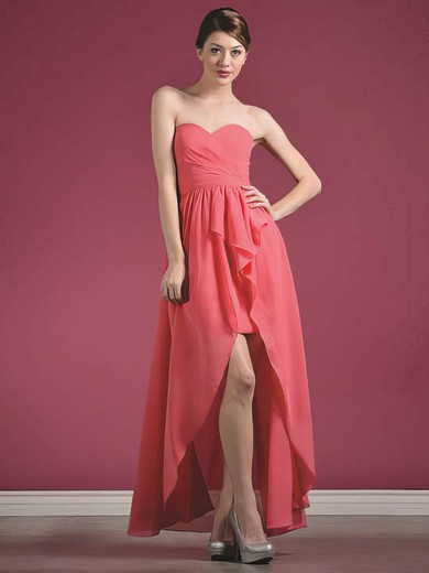 A-line Asymmetrical Chiffon Ruffles Sweetheart Bridesmaid Dresses #PWD01012435