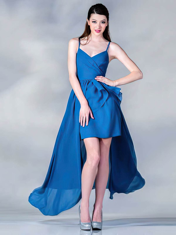 A-line Asymmetrical Chiffon Ruffles V-neck Bridesmaid Dresses #PWD01012437
