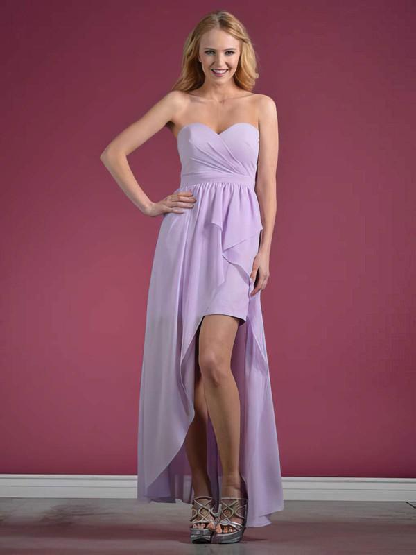 A-line Asymmetrical Chiffon Ruffles Sweetheart Bridesmaid Dresses #PWD01012438