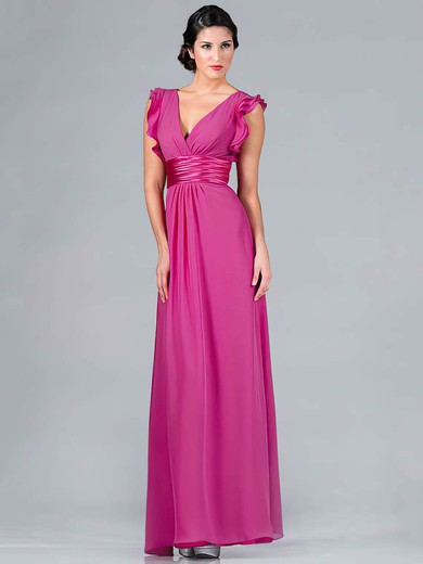 A-line Floor-length Chiffon Ruffles V-neck Bridesmaid Dresses #PWD01012439