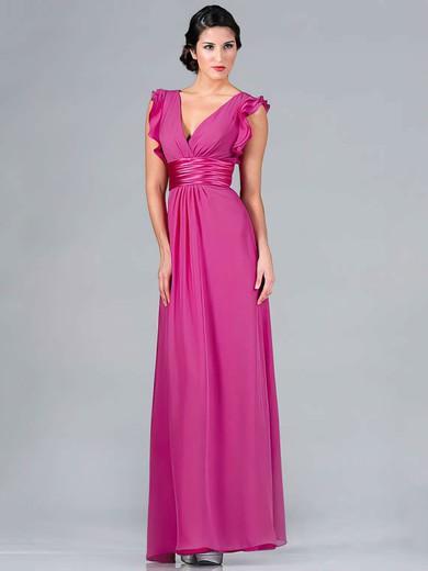 A-line Floor-length Chiffon Ruffles V-neck Bridesmaid Dresses #PWD01012439