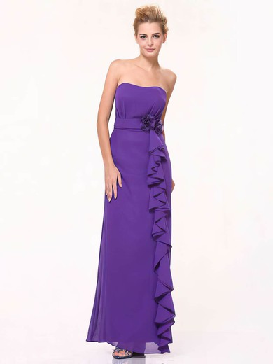 Sheath/Column Floor-length Chiffon Ruffles Sweetheart Bridesmaid Dresses #PWD01012440