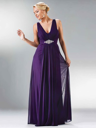 A-line Floor-length Chiffon Beading V-neck Bridesmaid Dresses #PWD01012441