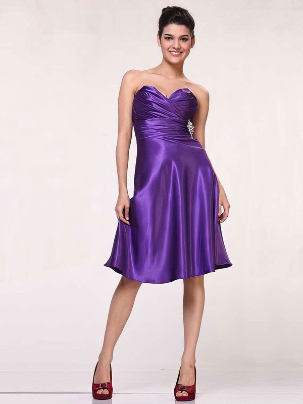 A-line Knee-length Silk-like Satin Ruffles Sweetheart Bridesmaid Dresses #PWD01012443