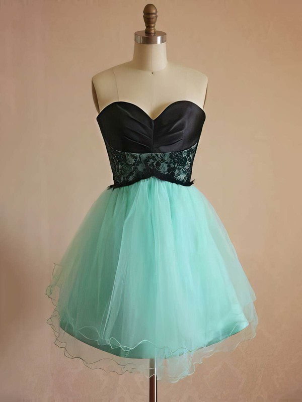 A-line Short/Mini Lace Tulle Elastic Woven Satin Sashes / Ribbons Sweetheart Bridesmaid Dresses #PWD01012444