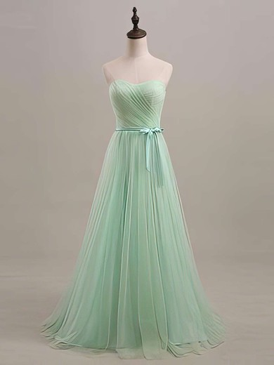 Tulle Sweetheart Sage with Sashes/Ribbons Lace-up Glamorous Bridesmaid Dresses #PWD01012446