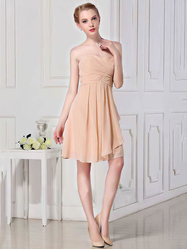 A-line Short/Mini Chiffon Ruffles Sweetheart Bridesmaid Dresses #PWD01012448