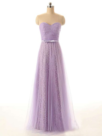 Floor-length Sweetheart with Sashes/Ribbons Lilac Tulle Lace Bridesmaid Dresses #PWD01012449