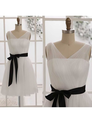 Ivory Tulle with Black Sashes/Ribbons V-neck Short/Mini Bridesmaid Dresses #PWD01012452