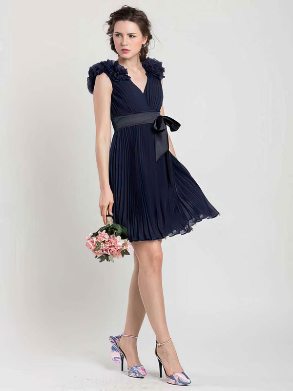 Promotion Dark Navy Pleats Chiffon Sashes/Ribbons V-neck Short/Mini Bridesmaid Dresses #PWD01012454