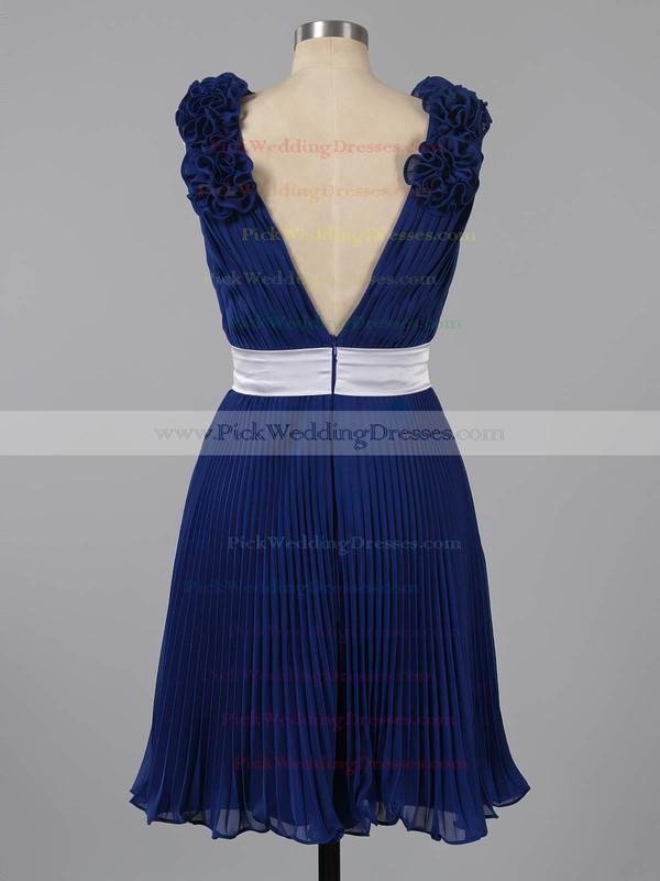 Promotion Dark Navy Pleats Chiffon Sashes/Ribbons V-neck Short/Mini Bridesmaid Dresses #PWD01012454