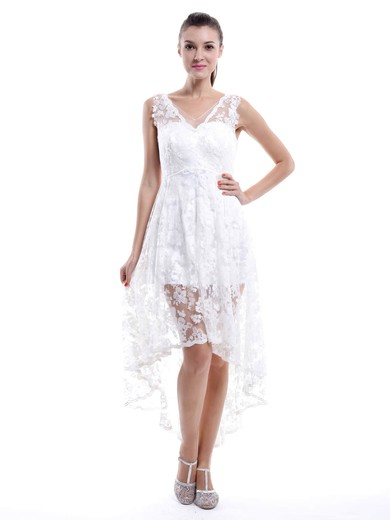 High Low V-neck White Lace Popular Asymmetrical Bridesmaid Dresses #PWD01012456