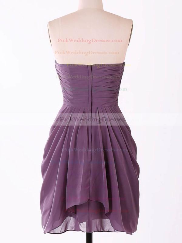 Short/Mini Grape Chiffon Sweetheart Flower(s) Cute Bridesmaid Dresses #PWD01012457