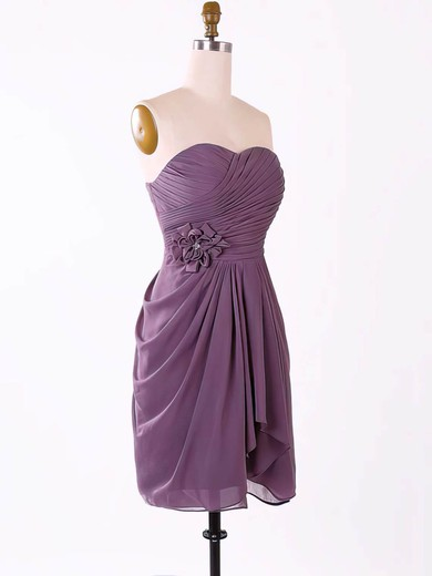 Short/Mini Grape Chiffon Sweetheart Flower(s) Cute Bridesmaid Dresses #PWD01012457