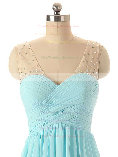 Discount V-neck Chiffon Tulle with Beading Straps Blue Bridesmaid Dresses #PWD01012460