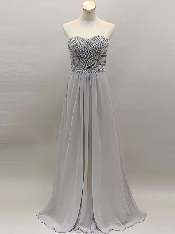 Sweetheart Light Slate Gray Chiffon A-line Beading and Ruffles Elegant Bridesmaid Dress