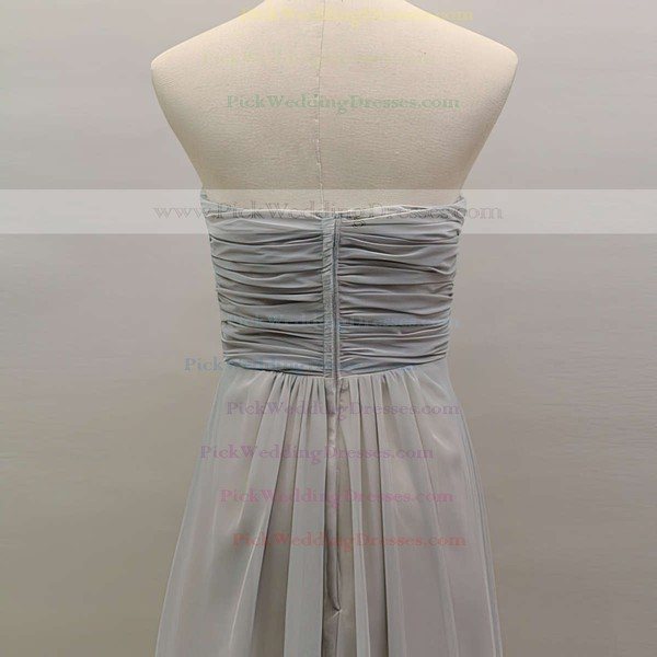 Sweetheart Light Slate Gray Chiffon A-line Beading and Ruffles Elegant Bridesmaid Dress #PWD01012461