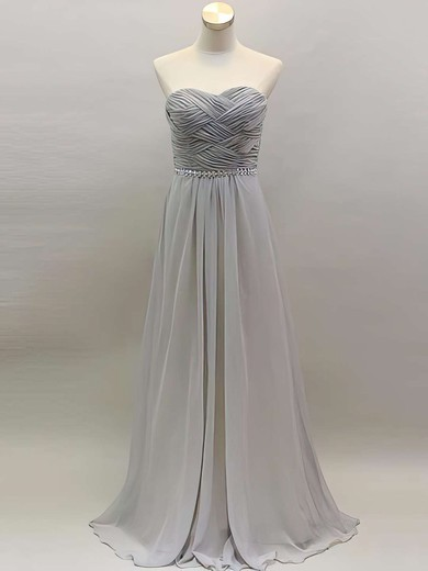 Sweetheart Light Slate Gray Chiffon A-line Beading and Ruffles Elegant Bridesmaid Dress #PWD01012461