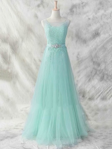 A-line Court Train Tulle Appliques Lace Scoop Neck Bridesmaid Dresses #PWD01012462