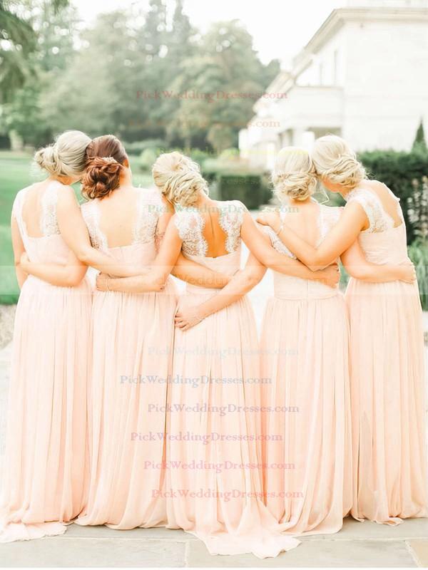 Chiffon Sweep Train Scoop Neck Latest Lace Bridesmaid Dresses #PWD01012467