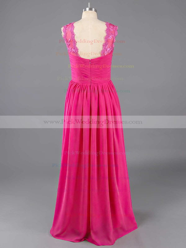 Chiffon Sweep Train Scoop Neck Latest Lace Bridesmaid Dresses #PWD01012467