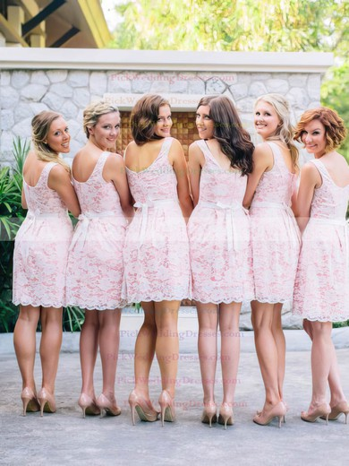 Affordable Scoop Neck Pink Lace Sashes / Ribbons Short/Mini Bridesmaid Dress #PWD01012468