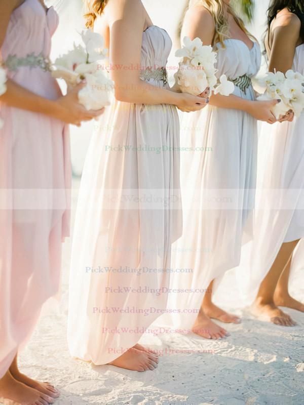 Hot Empire Pearl Pink Chiffon High Low Beading Asymmetrical Bridesmaid Dress #PWD01012469