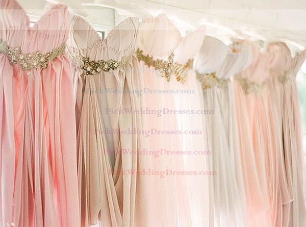 Hot Empire Pearl Pink Chiffon High Low Beading Asymmetrical Bridesmaid Dress #PWD01012469