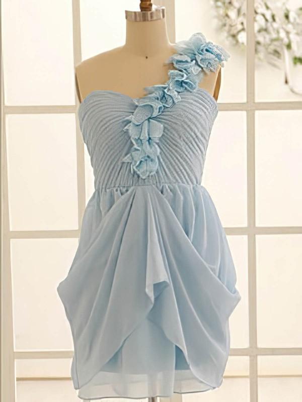 Stunning Flower(s) Chiffon Short/Mini One Shoulder Light Sky Blue Bridesmaid Dress #PWD01012471