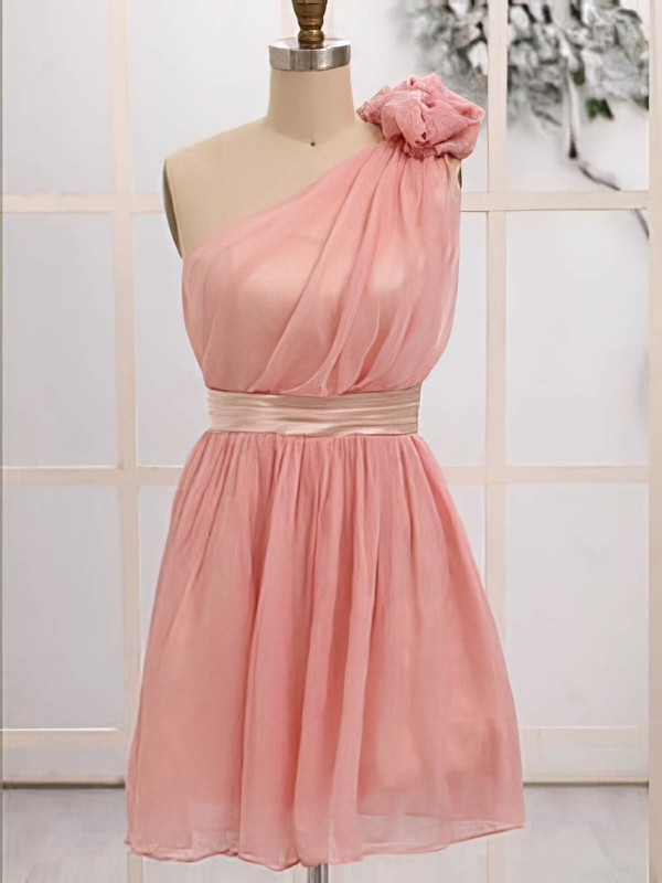 Junior Short/Mini Chiffon with Flower(s) One Shoulder Bridesmaid Dresses #PWD01012472